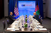 20.MAY.2012. CHICAGO<br /> <br /> PRESIDENT BARACK OBAMA TALKS WITH PRESIDENT HAMID KARZAI OF AFGHANISTAN DURING THE NATO SUMMIT IN CHICAGO, ILL., MAY 20, 2012.  <br /> <br /> BYLINE: EDBIMAGEARCHIVE.CO.UK<br /> <br /> *THIS IMAGE IS STRICTLY FOR UK NEWSPAPERS AND MAGAZINES ONLY*<br /> *FOR WORLD WIDE SALES AND WEB USE PLEASE CONTACT EDBIMAGEARCHIVE - 0208 954 5968*