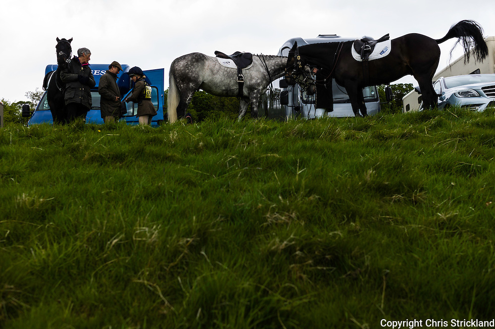 Floors Castle, Kelso, Roxburghshire, UK. 17th May 2015. The Galbraith team prepare for the cross country during the Floors Castle International Horse Trials in the parkland of Roxburghe Estate in the Scottish Borders.