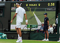 Tennis - 2017 Wimbledon Championships - Week Two, Sunday [Day Thirteen]<br /> <br /> Men Doubles Final match<br /> <br /> Marin Cilic (CRO) vs Rodger Federer (SUI)<br /> <br /> Rodger Federer does'nt bother watching the replay as he knew it was out on  Centre court <br /> <br /> COLORSPORT/ANDREW COWIE