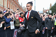 Manchester United Defender Chris Smalling arrives off the coach during the Premier League match between Fulham and Manchester United at Craven Cottage, London, England on 9 February 2019.