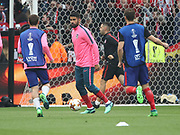 Diego Costa of Atlerico Madrid warms up during the Europa League Final match between Olympique de Marseille and Atletico Madrid at Orange Velodrome, Marseille, France on 16 May 2018. Picture by Ahmad Morra.