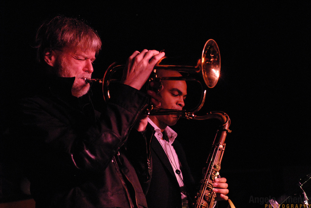 Horn player Tom Harrell, left, performs with his Tom Harrell Quintet, including saxophonist Wayne Escoffery, right, at the Viilage Vanguard jazz club in New York City on November 28, 2006.