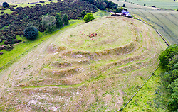 Elevated view of Chesters Hill Fort in East Lothian, Scotland, UK