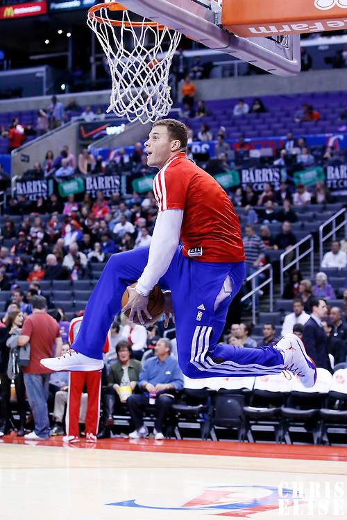 06 January 2014: Los Angeles Clippers power forward Blake Griffin (32) goes for the dunk prior to the Los Angeles Clippers 101-81 victory over the Orlando Magic at the Staples Center, Los Angeles, California, USA.