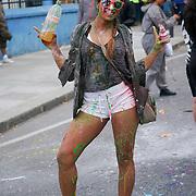 London,England,UK, 28th Aug 2016 : Hundreds of paraders Jouvert kick of Notting Hill Carnival this morning at Ladbroke Grove, London,UK