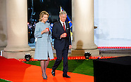 King Philippe of Belgium and Queen Mathilde of Belgium and Crown Princess Elisabeth attend a First W