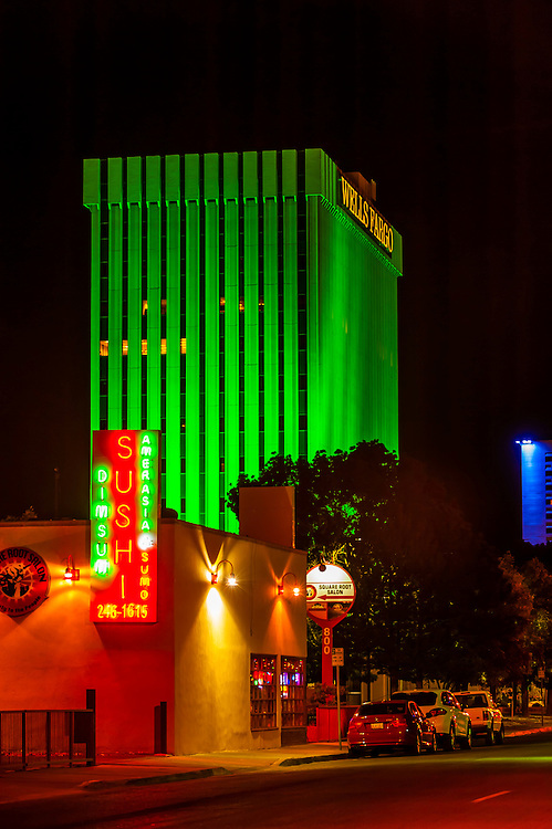 A sushi restaurant with the Wells Fargo Bank building in background, Albuquerque, New Mexico USA
