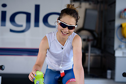 Gabrielle Pilote Fortin (Cervélo Bigla) starts her warm up at Thüringen Rundfarht 2016 - Stage 4 a 19km time trial starting and finishing in Zeulenroda Triebes, Germany on 18th July 2016.