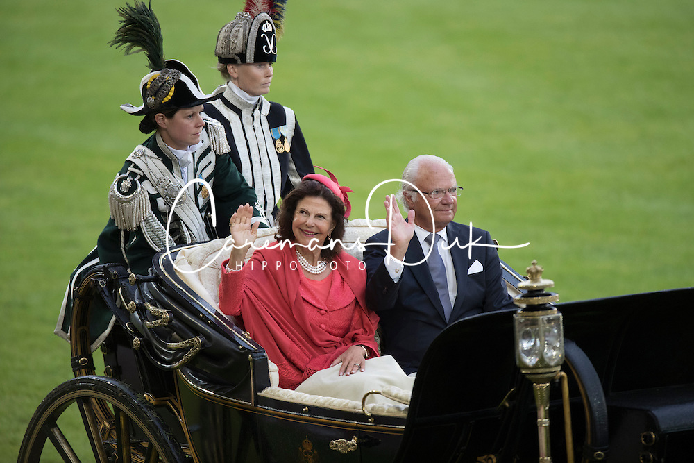 Her Majesty Queen Silvia and King Harald of Sweden<br /> Opening Ceremony<br /> CHIO Aachen 2016<br /> &copy; Hippo Foto - Dirk Caremans<br /> 12/07/16