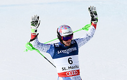 13.02.2017, St. Moritz, SUI, FIS Weltmeisterschaften Ski Alpin, St. Moritz 2017, alpine Kombination, Herren, Slalom, im Bild Luca Aerni (SUI, Herren Alpine Kombination Weltmeister und Goldmedaille) // men's Alpine Combined world Champion and Gold medalistLuca Aerni of Switzerland reacts after his run of Slalom competition for the men's Alpine combination of the FIS Ski World Championships 2017. St. Moritz, Switzerland on 2017/02/13. EXPA Pictures © 2017, PhotoCredit: EXPA/ Erich Spiess