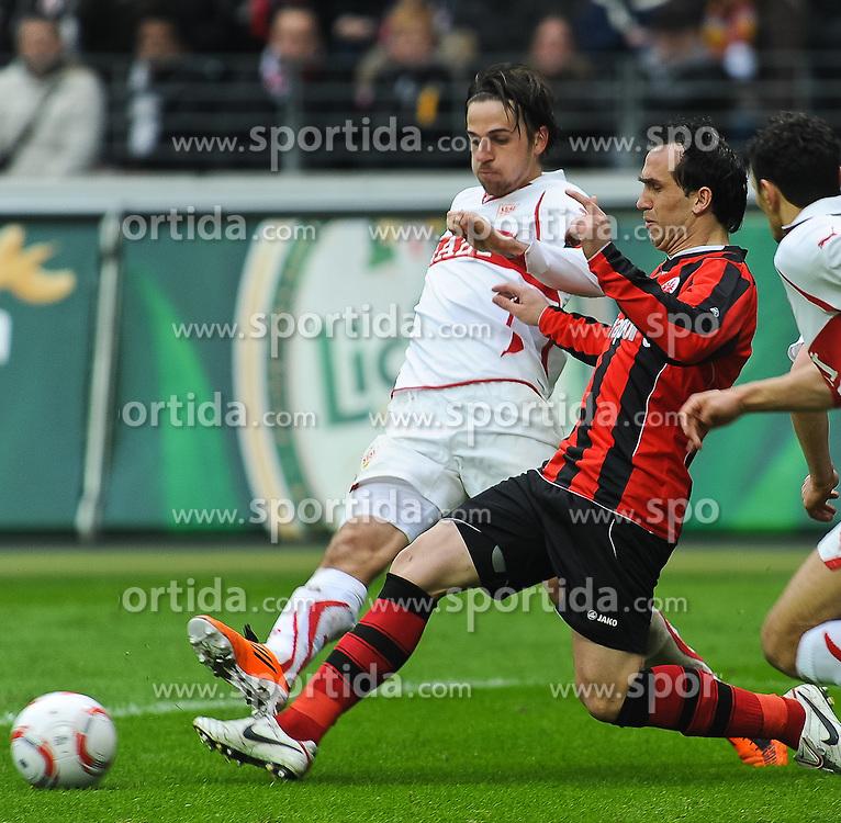 27.02.2011, Commerzbank-Arena, Frankfurt, GER, 1. FBL, Eintracht Frankfurt vs VfB Stuttgart, im Bild vl. Martin Harnik (Stuttgart #7), Theofanis Gekas (Frankfurt #21), Khalid Boulahrouz (Stuttgart #21), Christian Traesch (Stuttgart #35), EXPA Pictures © 2011, PhotoCredit: EXPA/ nph/  Roth       ****** out of GER / SWE / CRO  / BEL ******