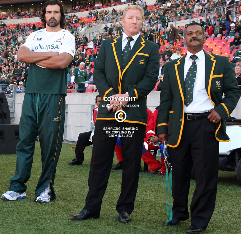PORT ELIZABETH, SOUTH AFRICA - AUGUST 20,Victor Matfield with Dick Muir assistant coach and Peter de Villiers Springbok Head Coach during the Castle Lager Tri Nations match between South Africa and New Zealand from Nelson Mandela Bay Stadium on August 20, 2011 in Port Elizabeth, South Africa<br /> Photo by Steve Haag / Gallo Images