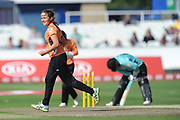 Amelia Kerr of Southern Vipers celebrates the wicket of Lizelle Lee during the Women's Cricket Super League match between Southern Vipers and Surrey Stars at the 1st Central County Ground, Hove, United Kingdom on 14 August 2018.