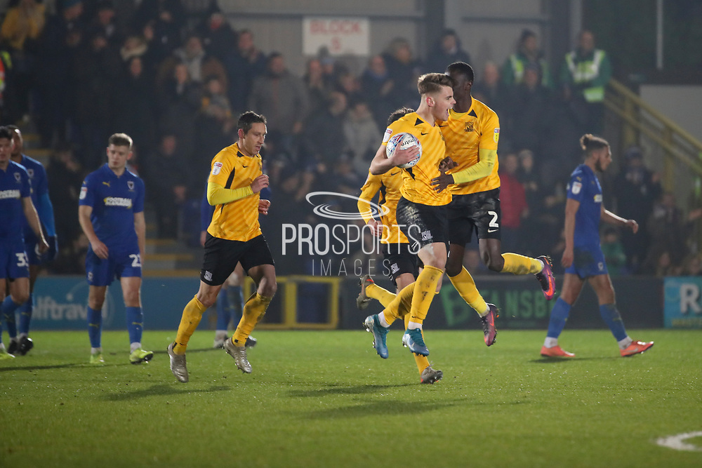 Southend United players celebrate scoring penalty during the EFL Sky Bet League 1 match between AFC Wimbledon and Southend United at the Cherry Red Records Stadium, Kingston, England on 1 January 2020.