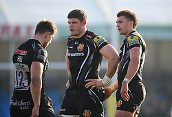 Dave Ewers of Exeter Chiefs and Henry Slade of Exeter Chiefs.  - Mandatory byline: Alex Davidson/JMP - 12/03/2016 - RUGBY - Sandy Park -Exeter Chiefs,England - Exeter Chiefs v Newcastle Falcons - Aviva Premiership