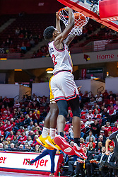 NORMAL, IL - February 15: Antonio Reeves makes some jam during a college basketball game between the ISU Redbirds and the Valparaiso Crusaders on February 15 2020 at Redbird Arena in Normal, IL. (Photo by Alan Look)