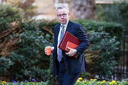 © Licensed to London News Pictures. 16/01/2018. London, UK. Secretary of State for Environment, Food and Rural Affairs Michael Gove arrives on Downing Street for the weekly Cabinet meeting. Photo credit: Rob Pinney/LNP