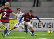 Frederik Bay (FC Helsingør) i kamp med Jacob Pind (Frem) under kampen i 2. Division mellem FC Helsingør og Boldklubben Frem den 27. september 2019 på Helsingør Ny Stadion (Foto: Claus Birch).