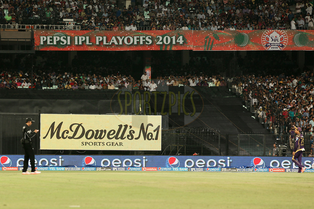 Branding during the first qualifier match (QF1) of the Pepsi Indian Premier League Season 2014 between the Kings XI Punjab and the Kolkata Knight Riders held at the Eden Gardens Cricket Stadium, Kolkata, India on the 28th May  2014<br /> <br /> Photo by Saikat Das / IPL / SPORTZPICS<br /> <br /> <br /> <br /> Image use subject to terms and conditions which can be found here:  http://sportzpics.photoshelter.com/gallery/Pepsi-IPL-Image-terms-and-conditions/G00004VW1IVJ.gB0/C0000TScjhBM6ikg