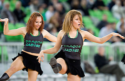 Cheerleaders Dragon Ladies during basketball match between KK Union Olimpija and Igokea in First round of NLB league in Arena Stozice on October 9, 2010 in SRC Stozice, Ljubljana, Slovenia. Union Olimpija defeated Igokea 61-54. (Photo by Vid Ponikvar / Sportida)