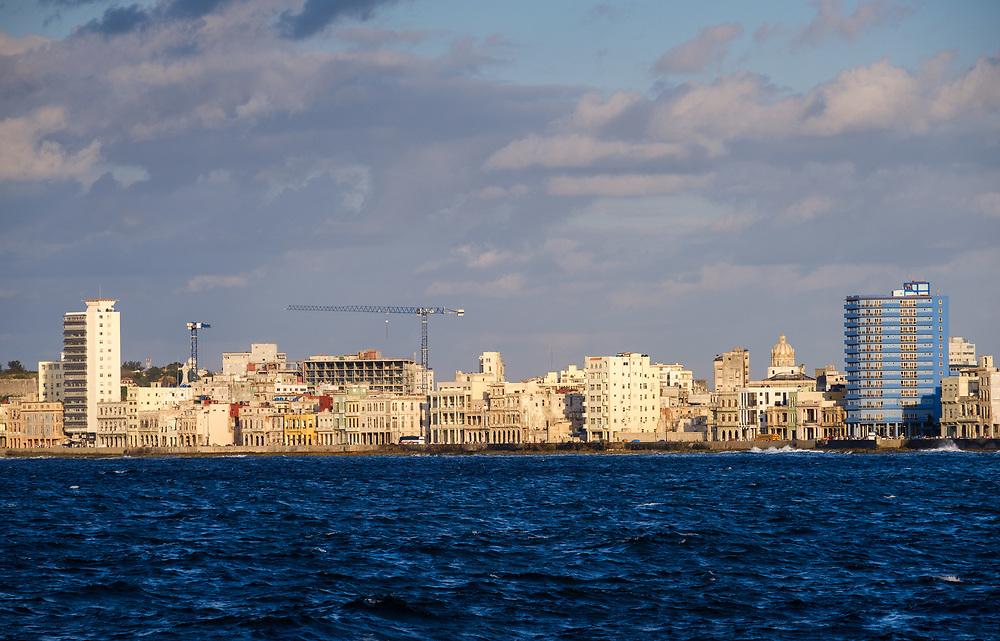 HAVANA, CUBA - CIRCA MARCH 2017:  Havana skyline and the malecon. A popular tourist attraction in Havana.