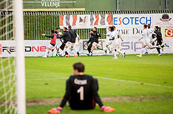 Players of Olimpija celebrate after penalty shot in last minute and winning during football match between NK Rudar and NK Olimpija Ljubljana in Round #35 of Prva liga Telekom Slovenije 2015/16, on May 14, 2016, in Stadium Ob jezeru, Velenje, Slovenia. NK Olimpija with this victory became Slovenian National Champion 2016. Photo by Vid Ponikvar / Sportida