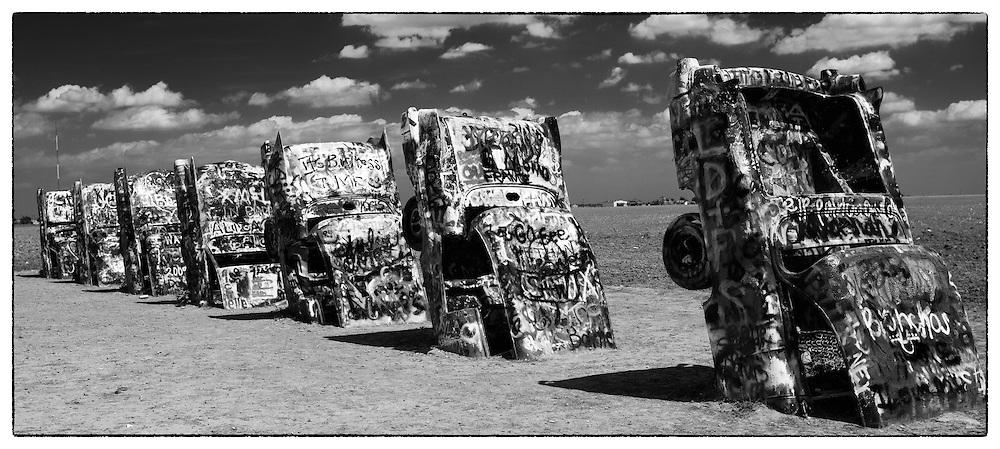 Graffiti covered Cadillac Graveyard near Amarillo, Texas