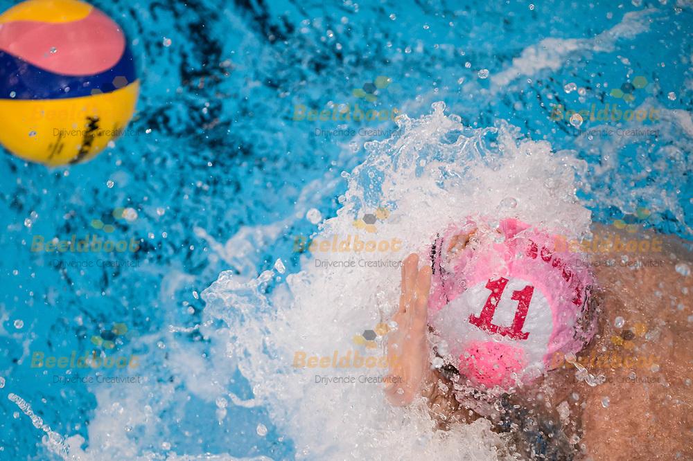 11-03-2018: Waterpolo: Mannen De Zijl v AZC: Den Haag<br /> <br /> (L-R) Dejan Indjic van AZC Moscow tijdens KNZB bekerfinale tussen heren AZC Moscow en De Zijl Zwemsport in het Hofbad in Den Haag<br /> <br /> KNZB beker heren - Seizoen 2017 / 2018<br /> <br /> Foto: Gertjan Kooij