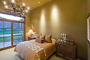 Chandelier in bedroom of Palm Springs home