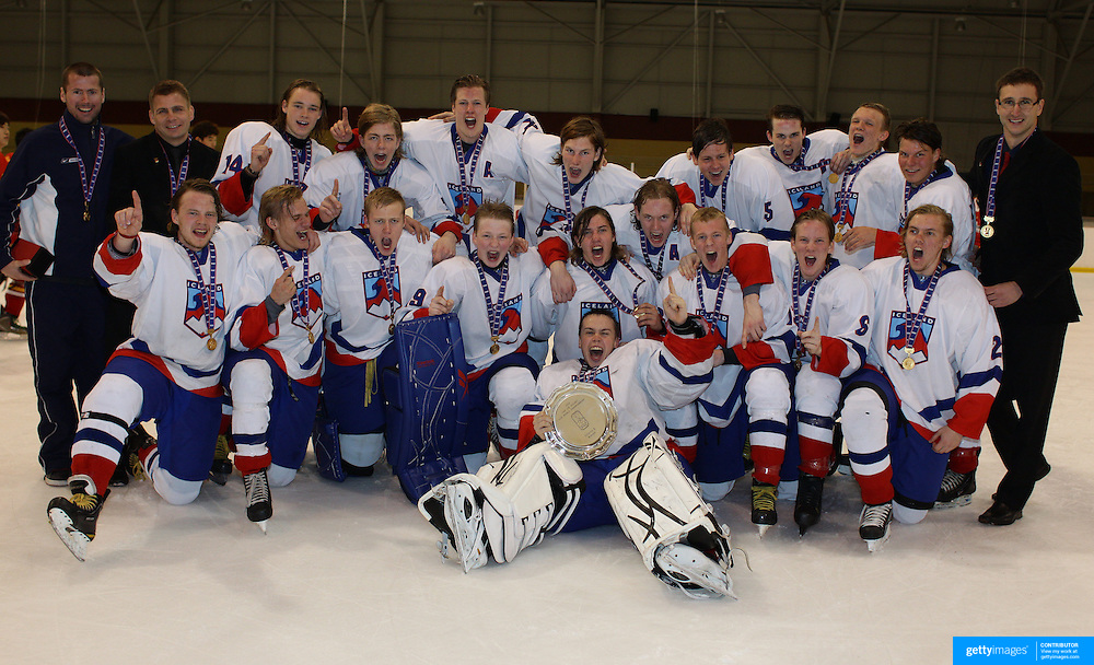 Iceland celebrate winning the tournament after defeating China 5-1  during the 2012 IIHF Ice Hockey World Championships Division 3 held at Dunedin Ice Stadium. Dunedin, Otago, New Zealand. 22nd January 2012. Photo Tim Clayton