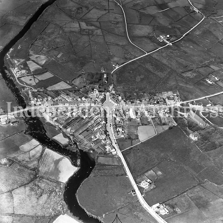 A280 Louisbourg (Louisburgh).   23/04/54 (Part of the Independent Newspapers Ireland/NLI collection.)<br /> <br /> These aerial views of Ireland from the Morgan Collection were taken during the mid-1950's, comprising medium and low altitude black-and-white birds-eye views of places and events, many of which were commissioned by clients. From 1951 to 1958 a different aerial picture was published each Friday in the Irish Independent in a series called, 'Views from the Air'.The photographer was Alexander 'Monkey' Campbell Morgan (1919-1958). Born in London and part of the Royal Artillery Air Corps, on leaving the army he started Aerophotos in Ireland. He was killed when, on business, his plane crashed flying from Shannon.