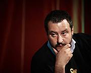 Matteo Salvini al Teatro Brancaccio di Roma per un comizio con i sostenitori di 'Noi Con Salvini', Roma 11 Maggio 2015. Christian Mantuano / OneShot<br /> <br /> Matteo Salvini at the Teatro Brancaccio in Rome for a meeting with supporters 'Noi Con Salvini', Rome May 11, 2015. Christian Mantuano / OneShot