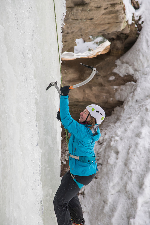 Ice climbing at Pictured Rocks National Lakeshore near Munising, Michigan.