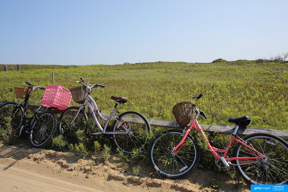 Bikes parked up at Cisco Beach, Nantucket, Nantucket Island, Massachusetts, USA. Photo Tim Clayton