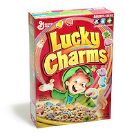 Box of Lucky Charms cereal photographed on a white background.