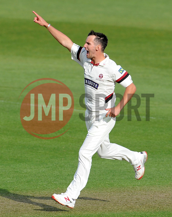 Somerset's Lewis Gregory celebrates the wicket of Durham's Mark Stoneman- Photo mandatory by-line: Harry Trump/JMP - Mobile: 07966 386802 - 12/04/15 - SPORT - CRICKET - LVCC County Championship - Day 1 - Somerset v Durham - The County Ground, Taunton, England.