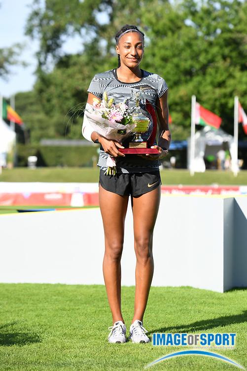 Nafi Thiam aka Nafissatou Thiam (BEL) poses after winning the heptathlon during the DecaStar meeting, Saturday, June 23, 2019, in Talence, France. Thiam won with 6,819 points. (Jiro Mochizuki/Image of Sport via AP)