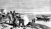 David Livingstone (1813-1873) Scottish missionary and African explorer, with members of his expedition and his wife and family discovering Lake Ngami, Botswana on l August 1849. Engraving after drawing made on the spot by Alfred Ryder.  From 'Missionary Travels and Researches in South Africa' by Daivd Livingstone (London, 1815). Engraving.
