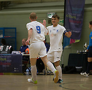 Scott Mollison celebrates after opening the scoring for Fair City Santos in the Scottish Cup final against Wattcell- Scottish Futsal Finals Day at the DISC<br /> <br />  - &copy; David Young - www.davidyoungphoto.co.uk - email: davidyoungphoto@gmail.com