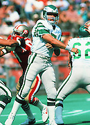 Philadelphia Eagles quarterback Ron Jaworski (7) throws a pass during the NFL football game against the San Francisco 49ers on Sept. 23, 1984 in Philadelphia. The 49ers won the game 21-9. (©Paul Anthony Spinelli)