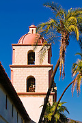 Bell tower and palms at the Santa Barbara Mission (Queen of the missions), Santa Barbara, California