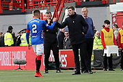 Rangers Manager Steven Gerrard greets Rangers defender James Tavernier (2) at the end of the Ladbrokes Scottish Premiership match between Hamilton Academical FC and Rangers at New Douglas Park, Hamilton, Scotland on 24 February 2019.