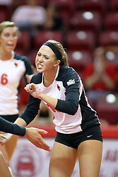 30 August 2011: Kaitlyn Early fired up after a point during an NCAA volleyball match between the Cougars of Southern Illinois Edwardsville and the Illinois State Redbirds at Redbird Arena in Normal Illinois.