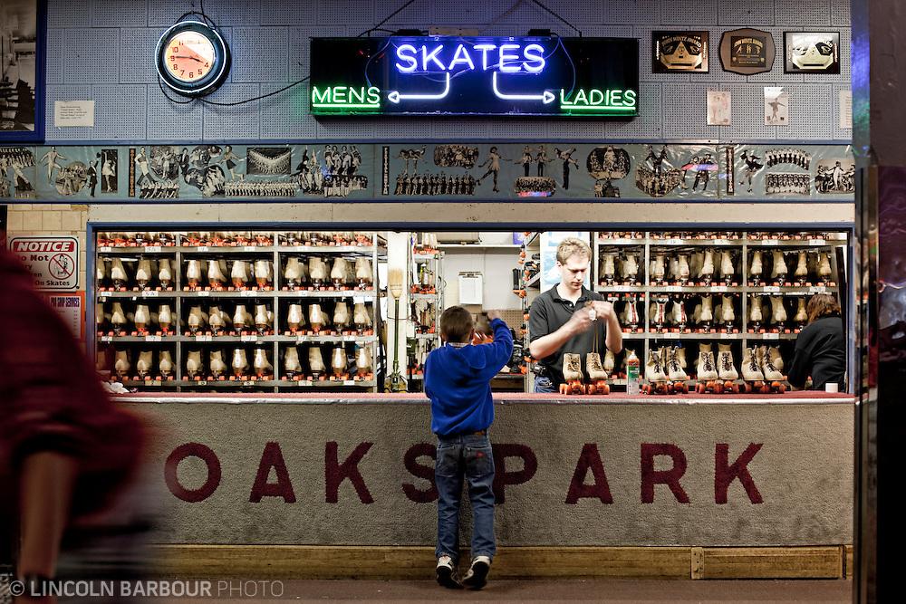 Skate rental counter at Oaks Amusment Park Skating Rink