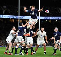 Jonny Gray of Scotland wins the ball at a lineout - Photo mandatory by-line: Patrick Khachfe/JMP - Mobile: 07966 386802 14/03/2015 - SPORT - RUGBY UNION - London - Twickenham Stadium - England v Scotland - Six Nations Championship