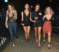 Marnie Simpson, Chloe Goodman, Lauryn Goodman and friend at Hard Rock Cafe in London, UK. 22/02/2016<br />
