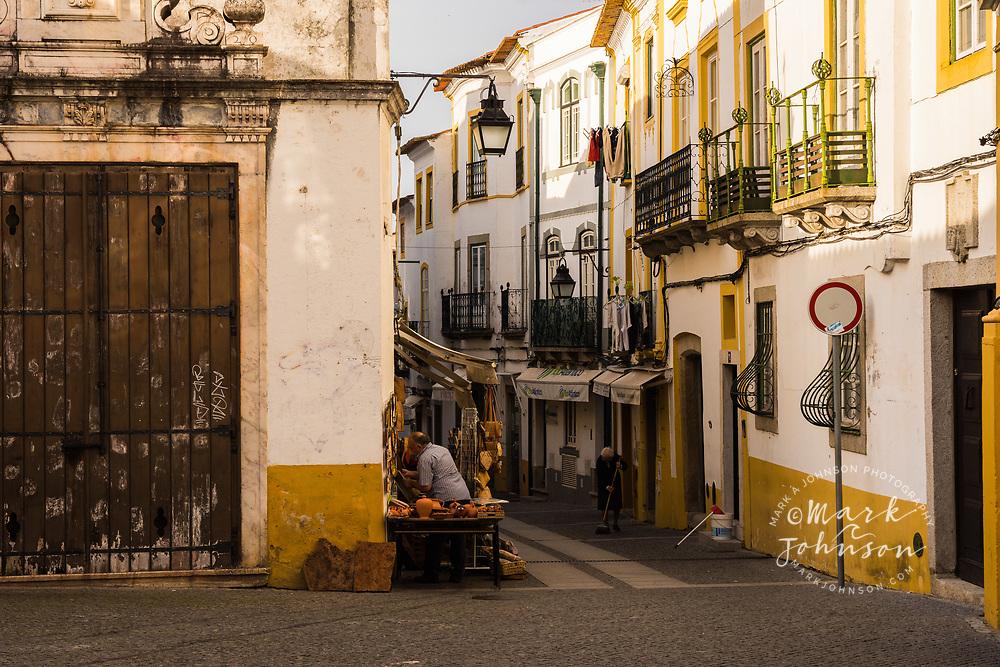 Shops selling local crafts, Evora, Portugal