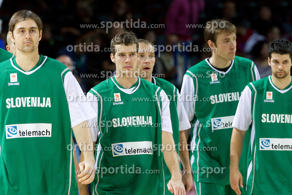 Erazem Lorbek, Goran Dragic, Samo Udrih, Matjaz Smodis and Saso Ozbolt of Slovenia during basketball match between National teams of Ukraine and Slovenia in Group D of Preliminary Round of Eurobasket Lithuania 2011, on September 1, 2011, in Arena Svyturio, Klaipeda, Lithuania. Slovenia defeated Ukraine 68 - 64. (Photo by Vid Ponikvar / Sportida)
