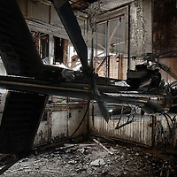 A model helicopter inside a redundant building