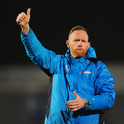 TELFORD COPYRIGHT MIKE SHERIDAN 5/3/2019 - Thumbs up - Gavin Cowan salutes the supporters after the National League North fixture between AFC Telford United and Darlington at the New Bucks Head Stadium